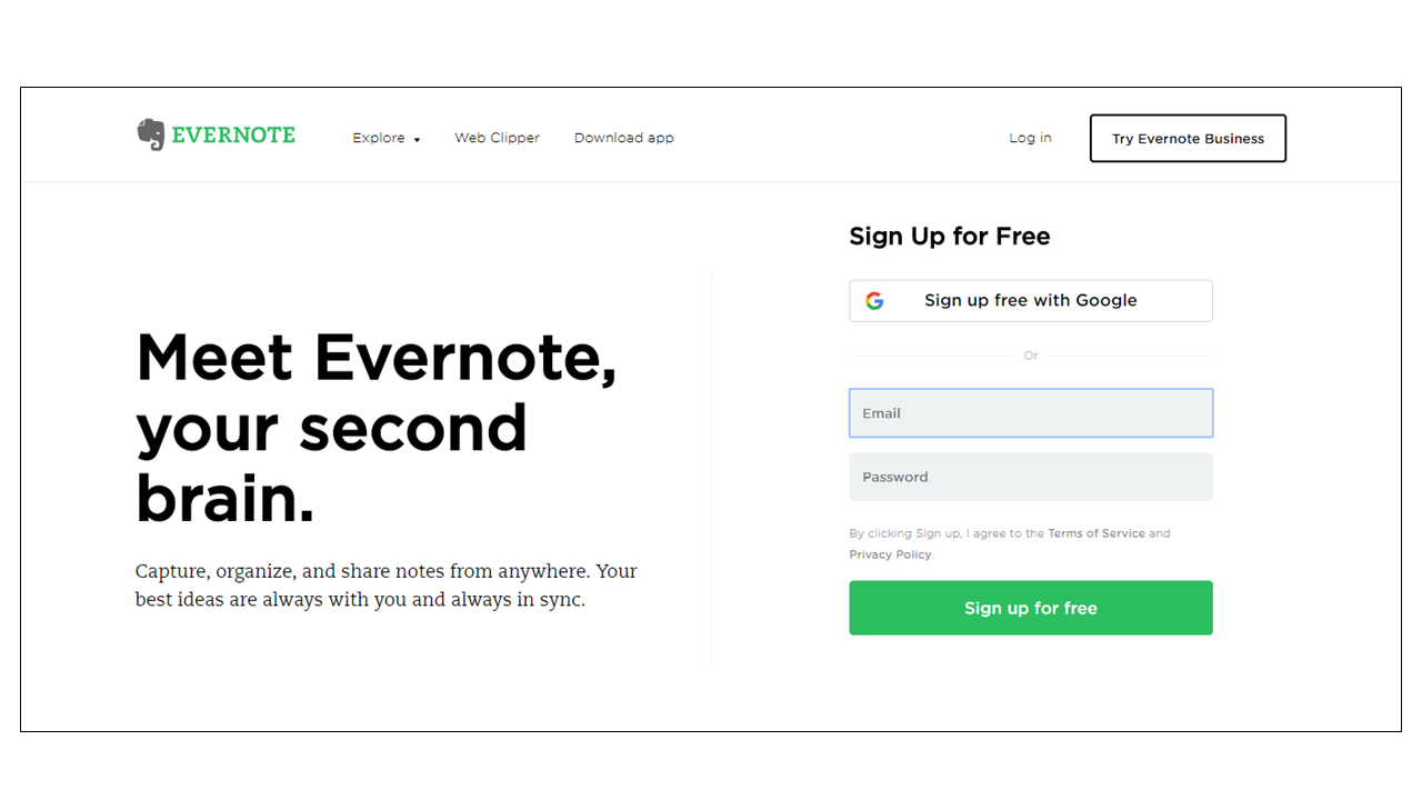 Evernote uses green to highlight call-to-action