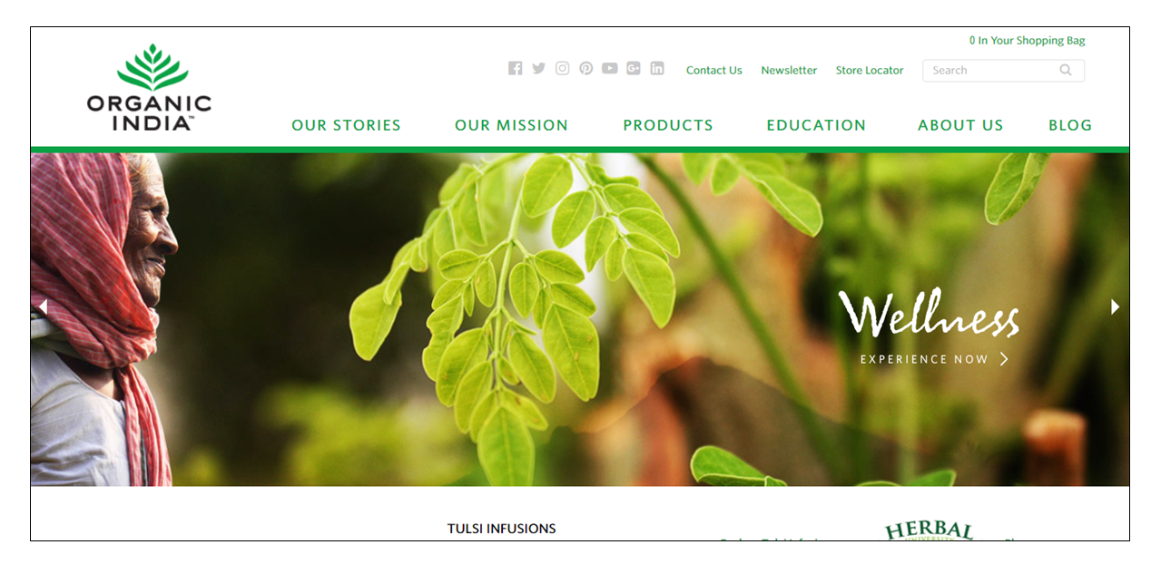 organic india uses green to promote wellness